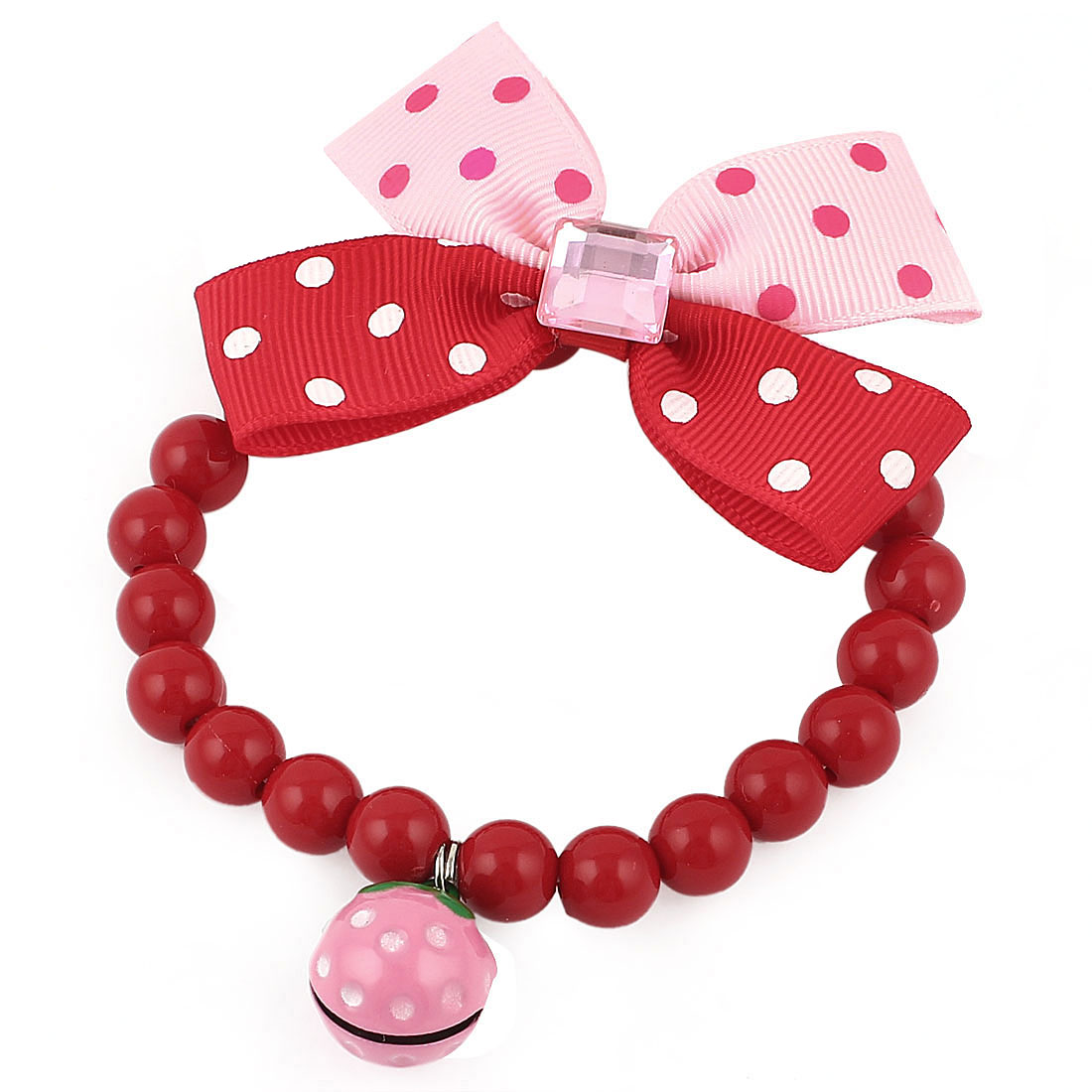 Metal Bell Pendant Bowtie Accent Pet Dog Plastic Beads Collar Necklace Red Pink XS
