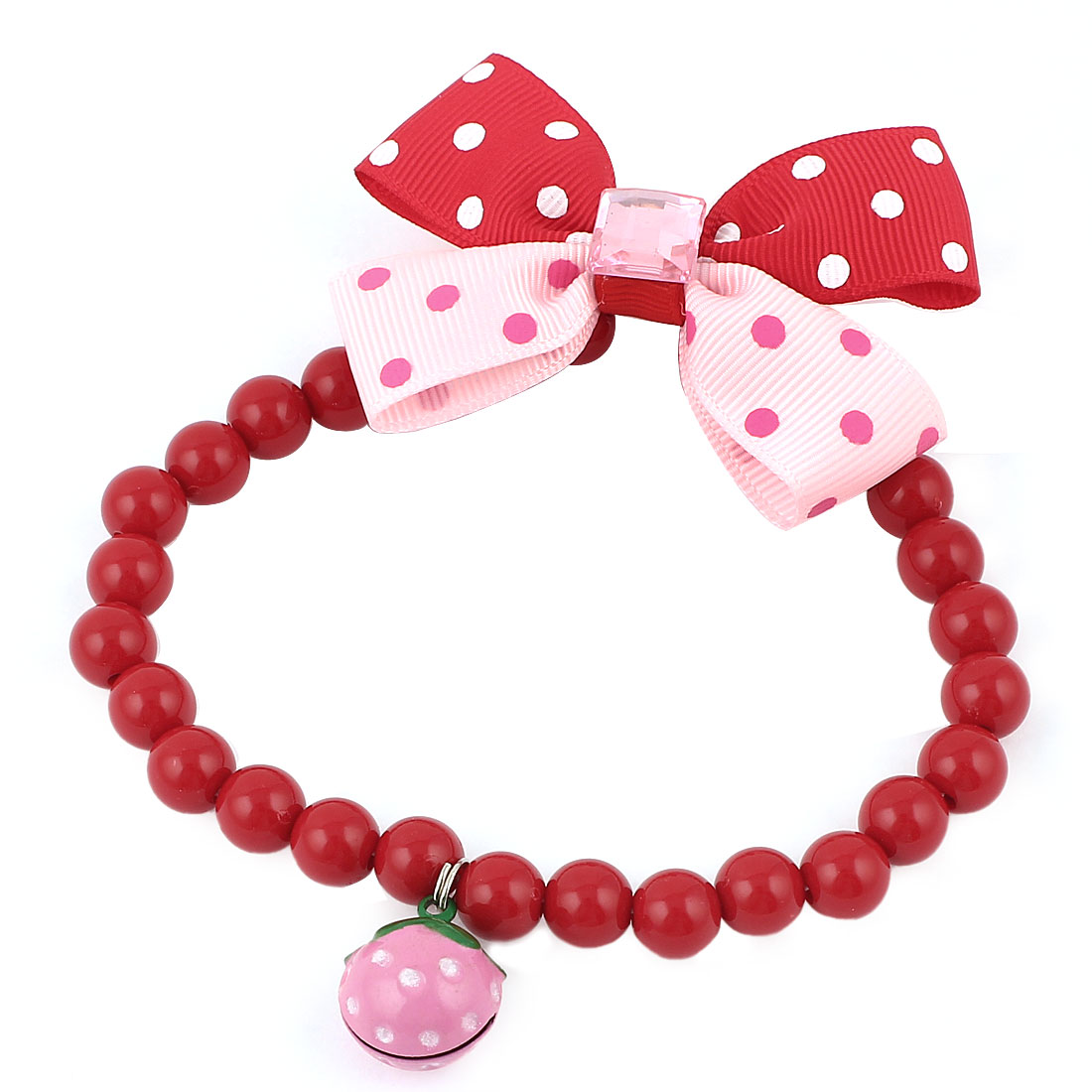 Metal Bell Pendant Bowtie Accent Pet Dog Plastic Beads Collar Necklace Red Pink M