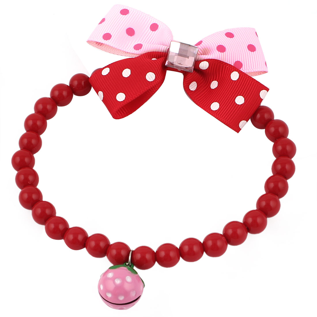 Metal Bell Pendant Bowtie Accent Pet Dog Plastic Beads Collar Necklace Red Pink L