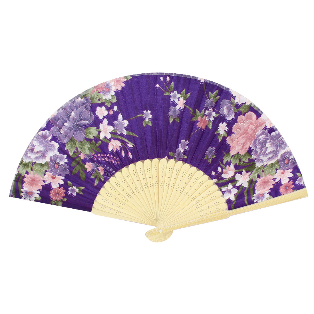Pink Peony Pattern Bamboo Hollow Out Ribs Folding Hand Fan Purple