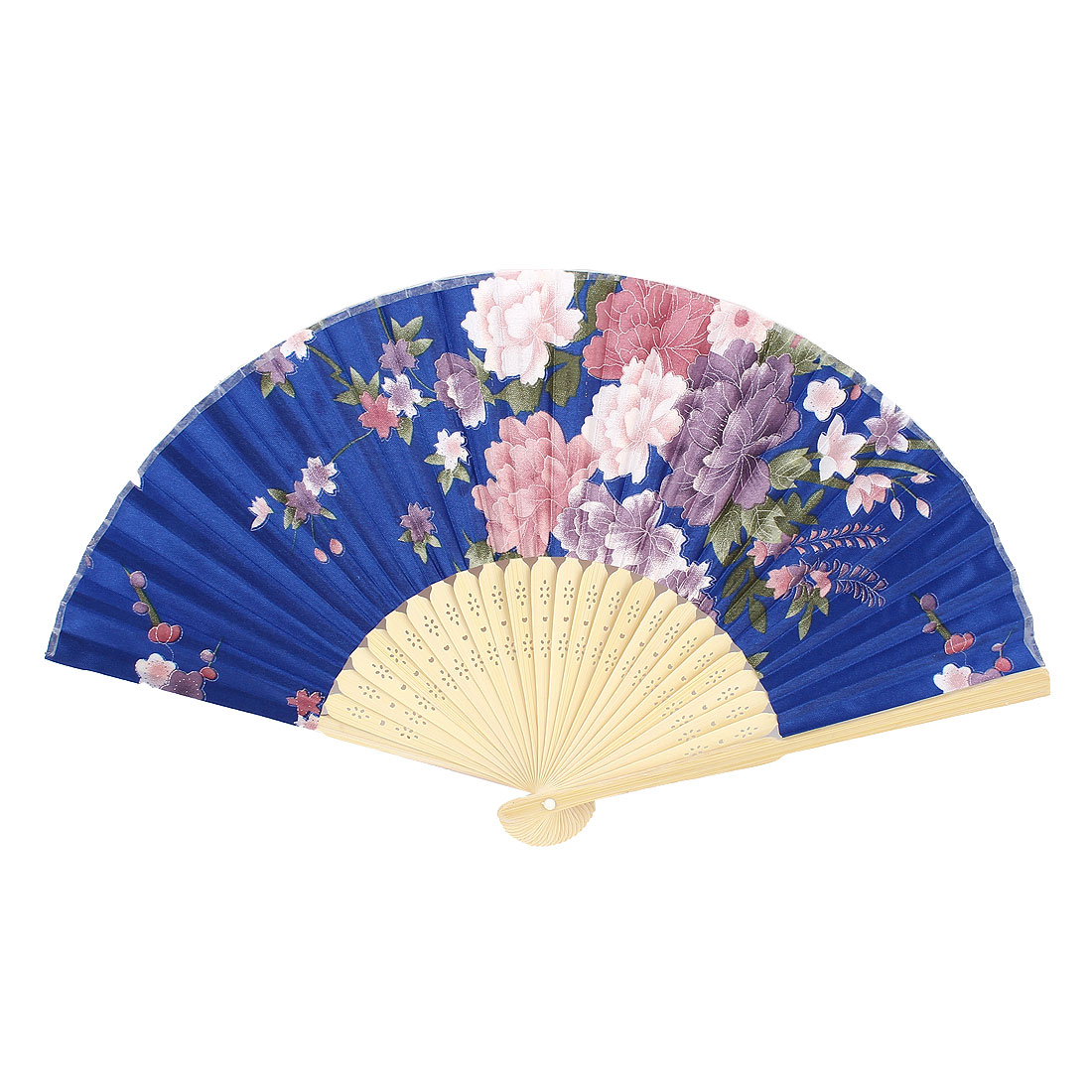 Colorful Peony Pattern Hollow Out Design Bamboo Ribs Folding Hand Fan Blue