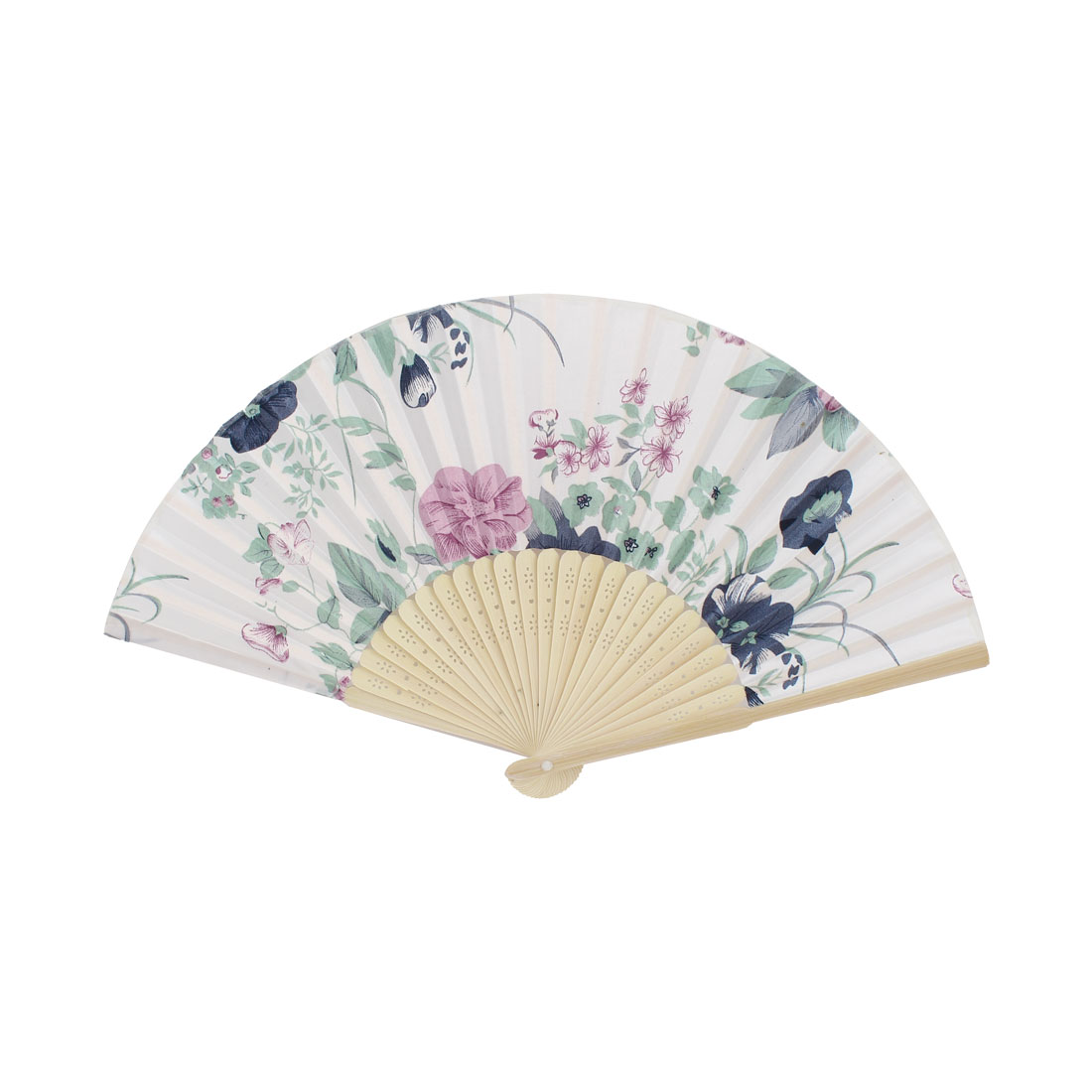 Tri-color Flower Pattern Hollow Out Design Bamboo Ribs Folded Hand Fan White