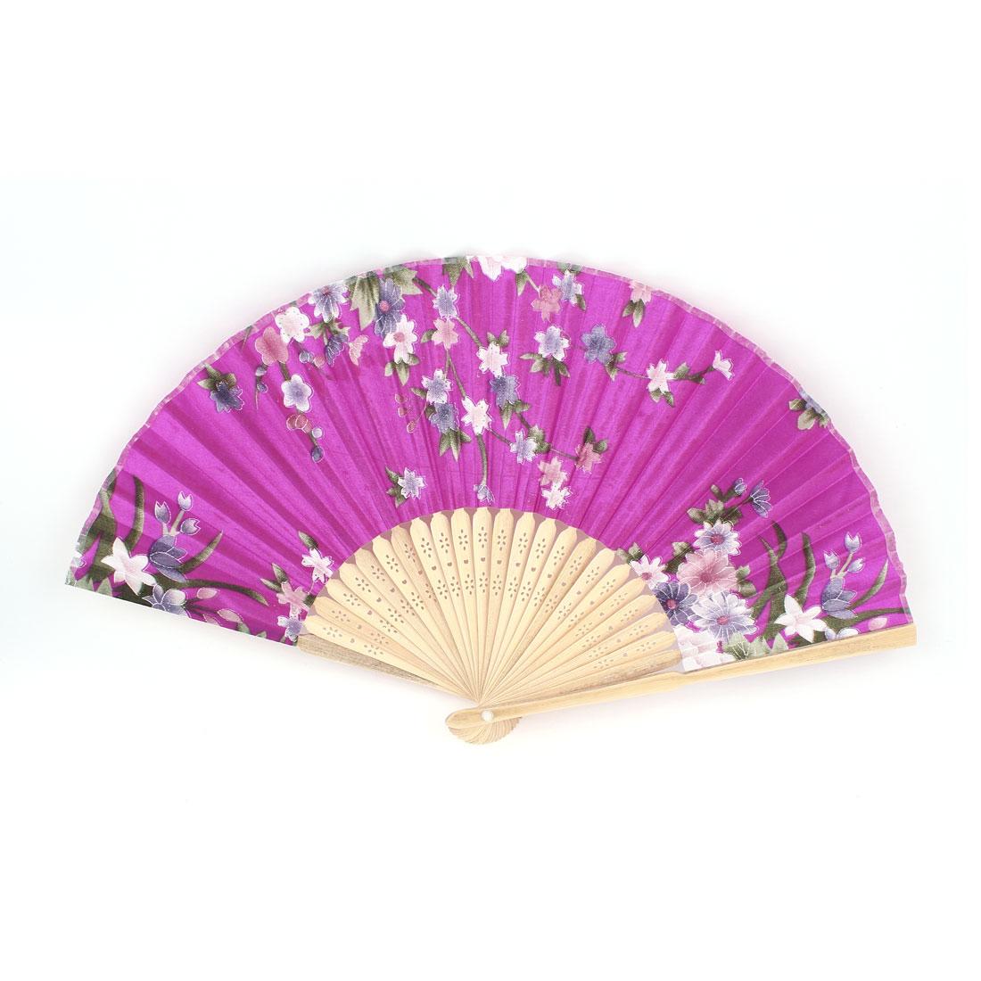 Peony Pattern Hollow Out Design Bamboo Ribs Folded Hand Fan Fuchsia