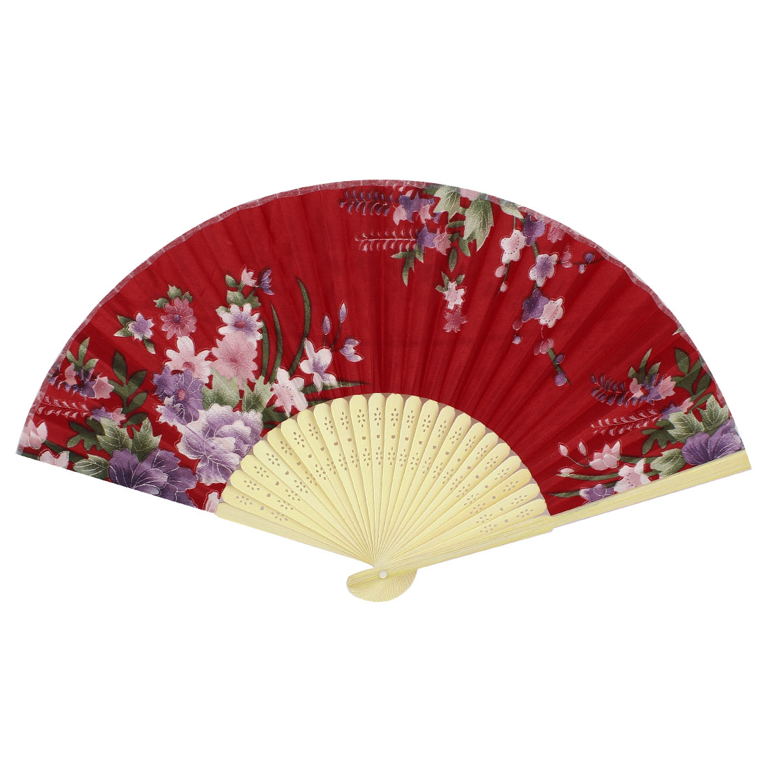 Purple Flower Pattern Bamboo Hollow Out Ribs Folding Hand Fan Red