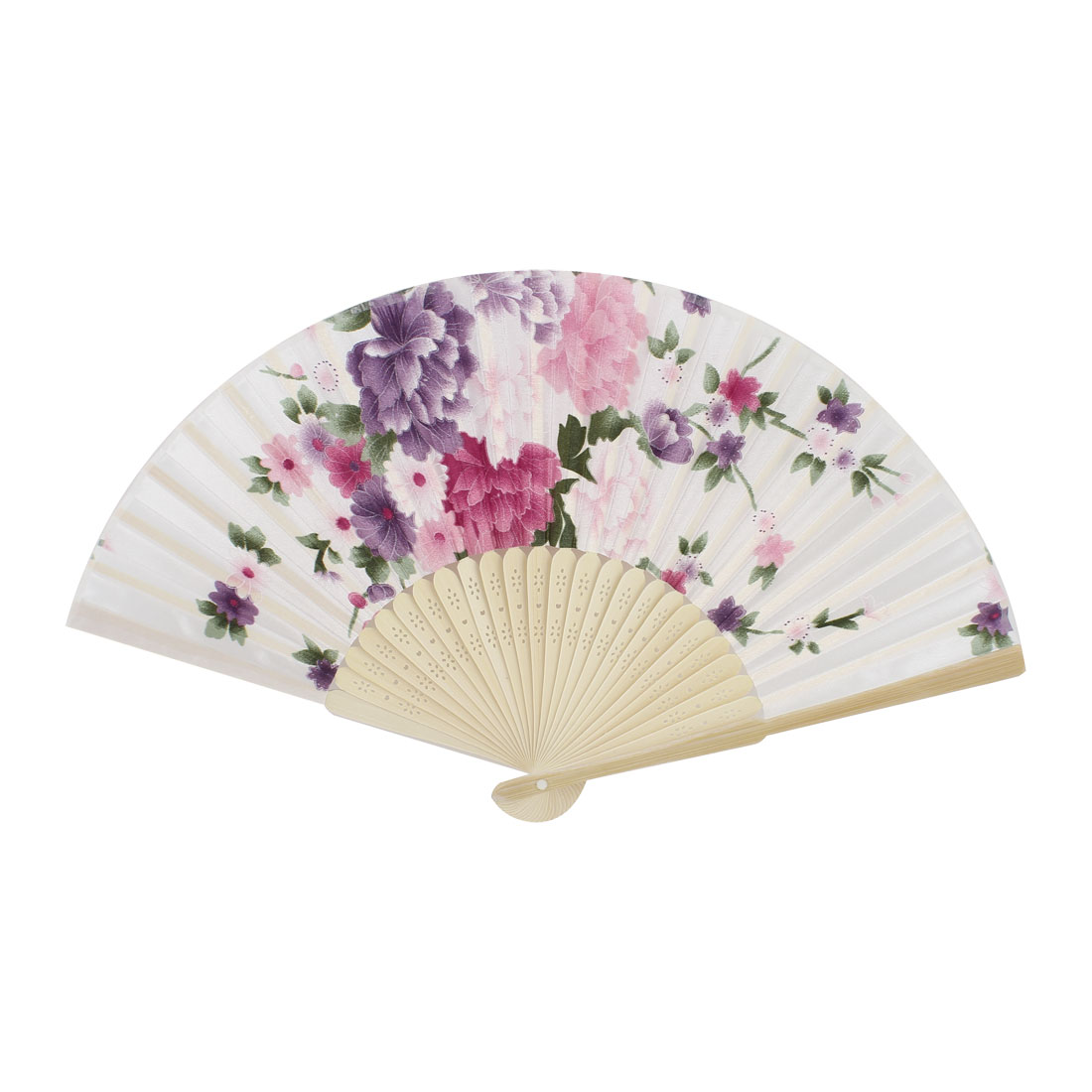 Purple Peony Pattern Hollow Out Design Bamboo Ribs Folding Hand Fan White