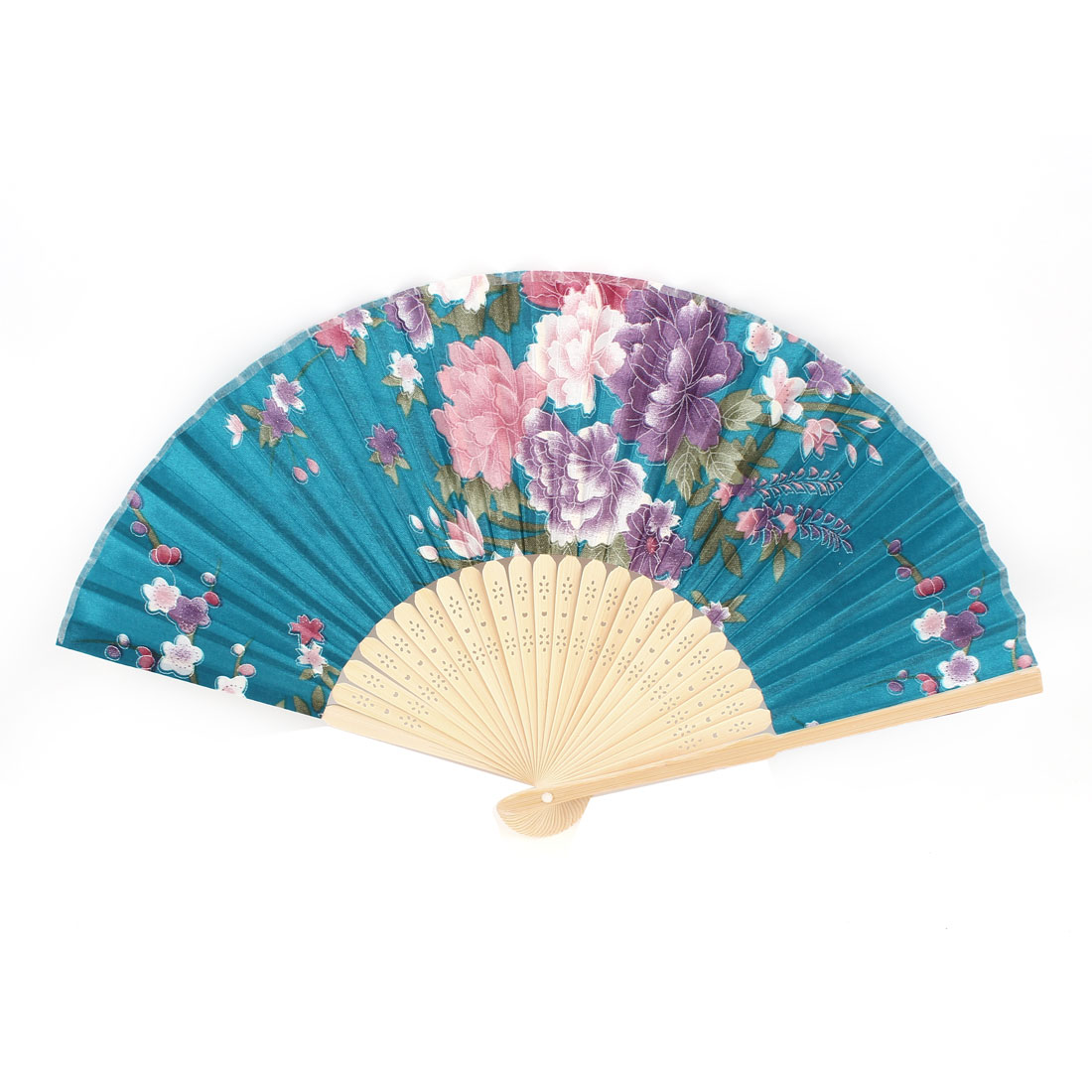 Purple Peony Pattern Bamboo Hollow Out Ribs Folding Hand Fan Teal Blue