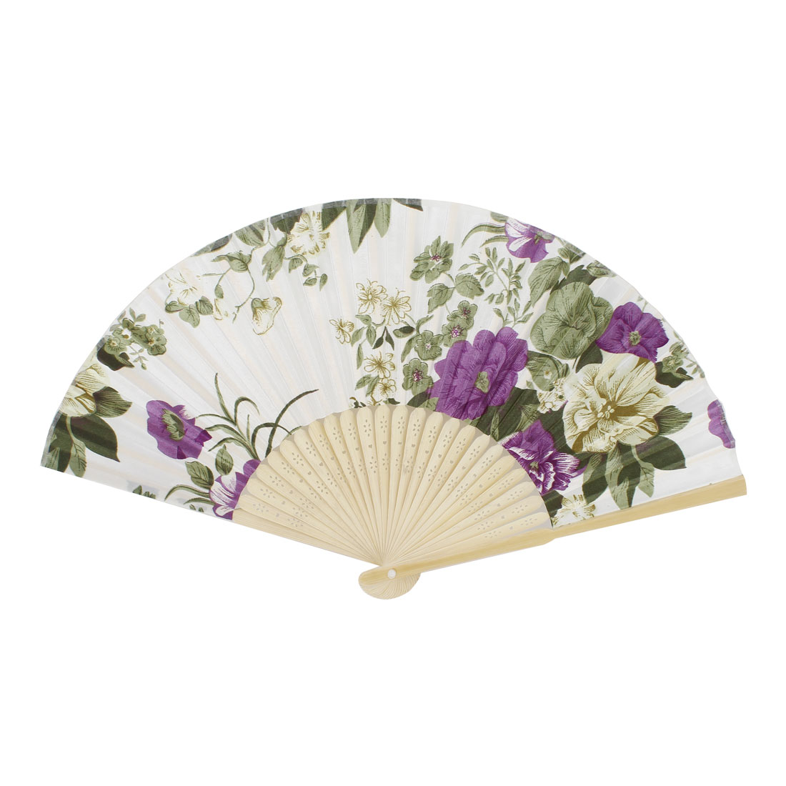Green Flower Pattern Bamboo Hollow Out Ribs Folding Hand Fan White