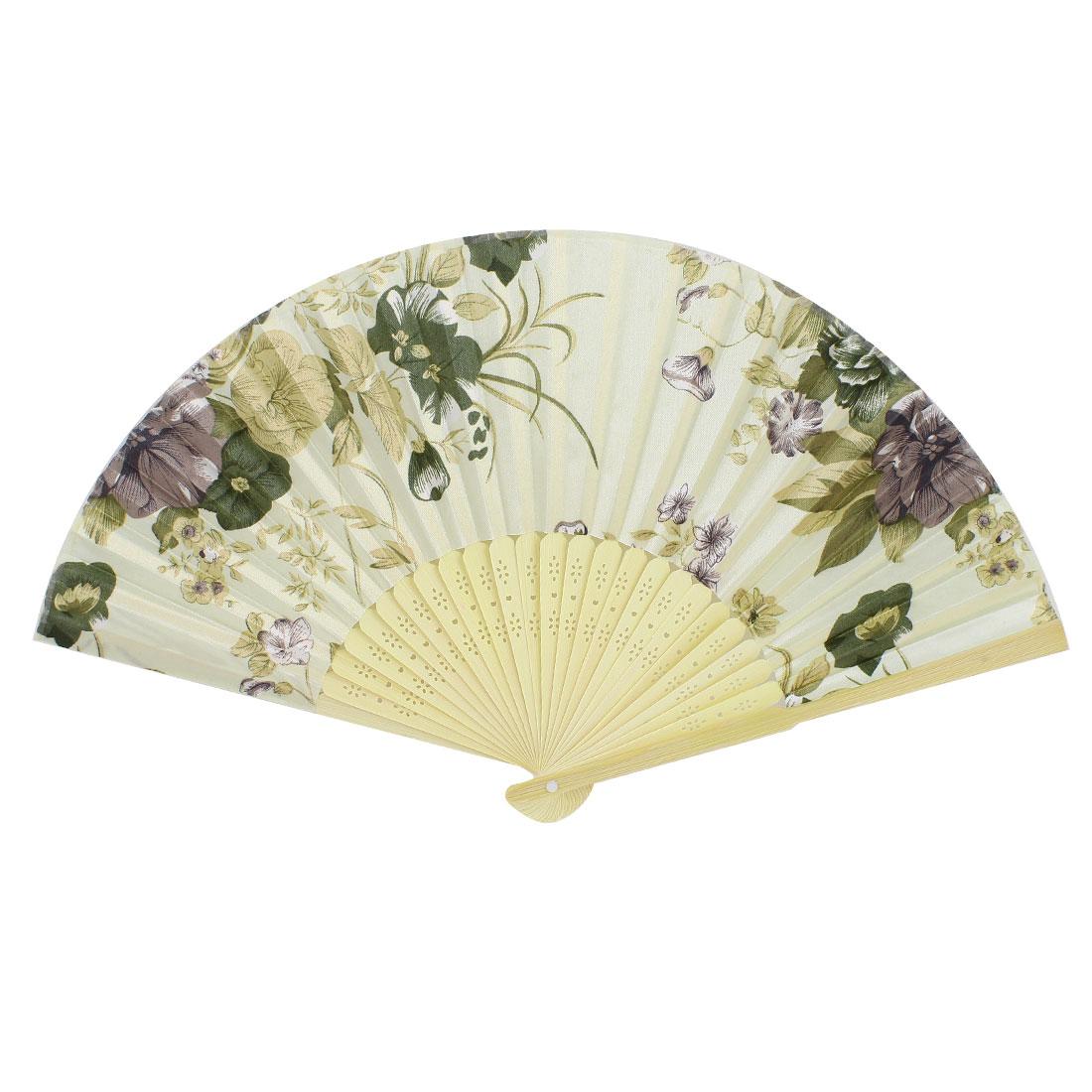 Khaki Flowers Pattern Bamboo Hollow Out Ribs Folding Hand Fan Beige