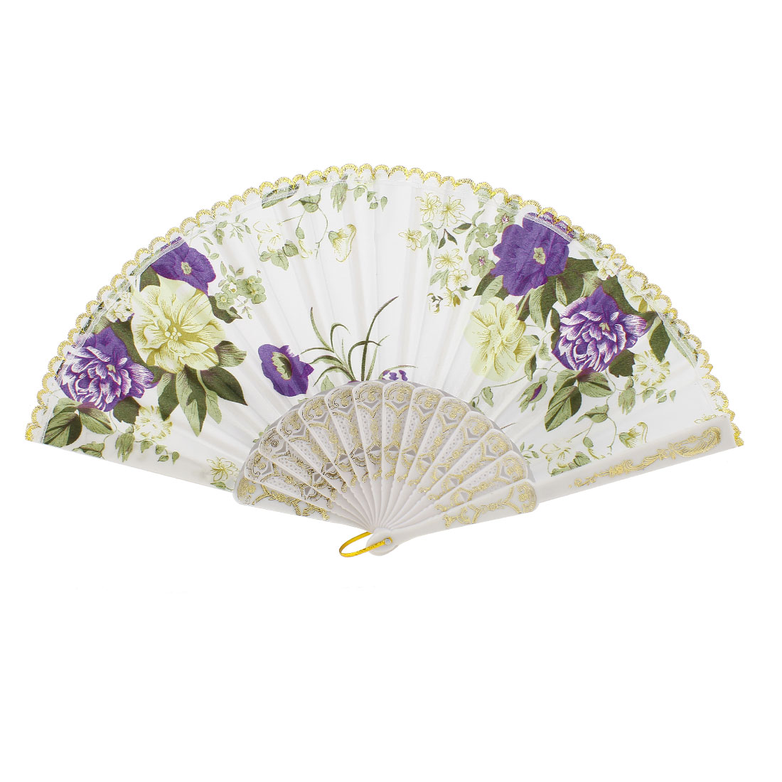 Purple Peony Pattern Plastic Hollow Out Ribs Folding Hand Fan White
