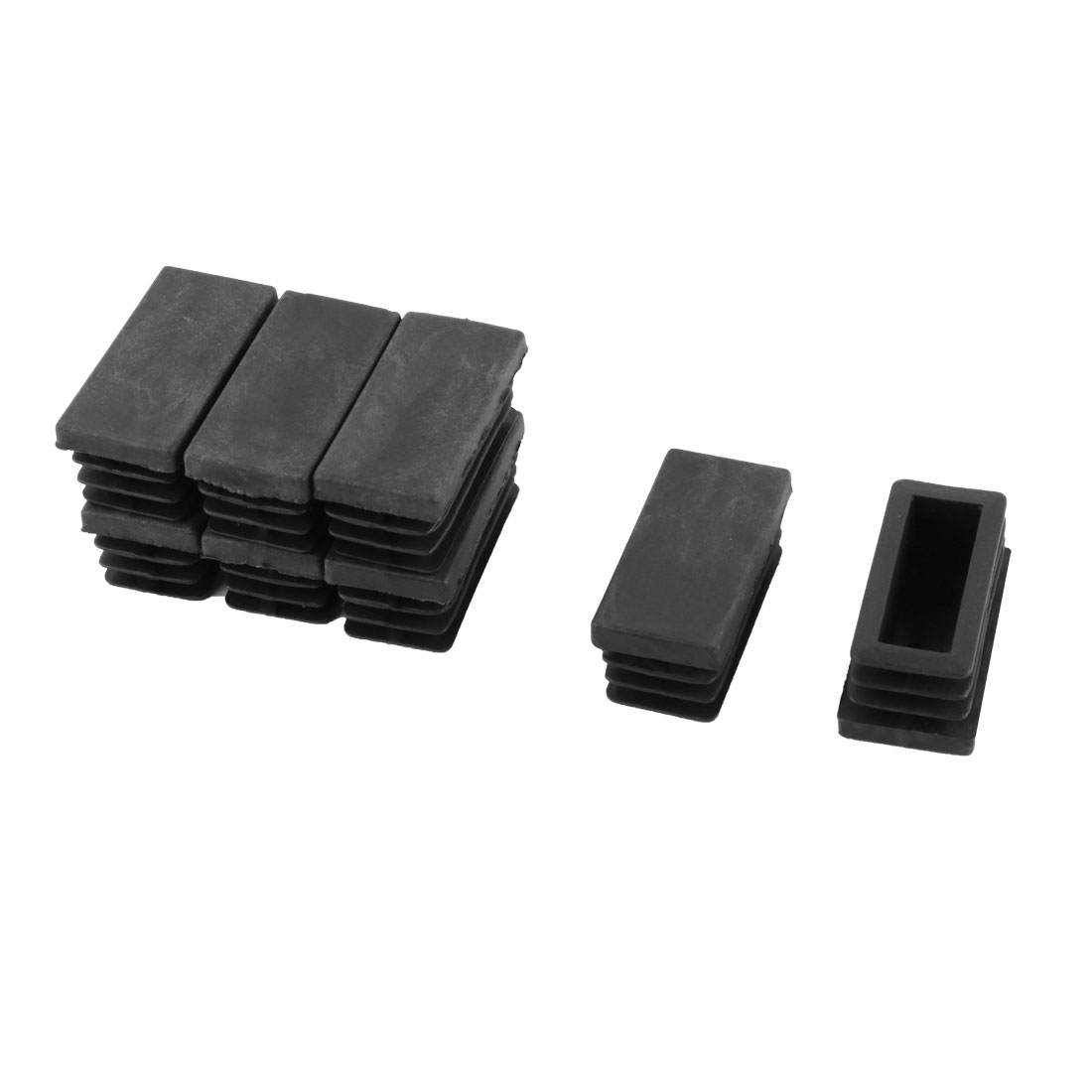 8 Pieces Black Plastic Rectangular Blanking End Caps Tubing Tube Inserts 20mm x 40mm