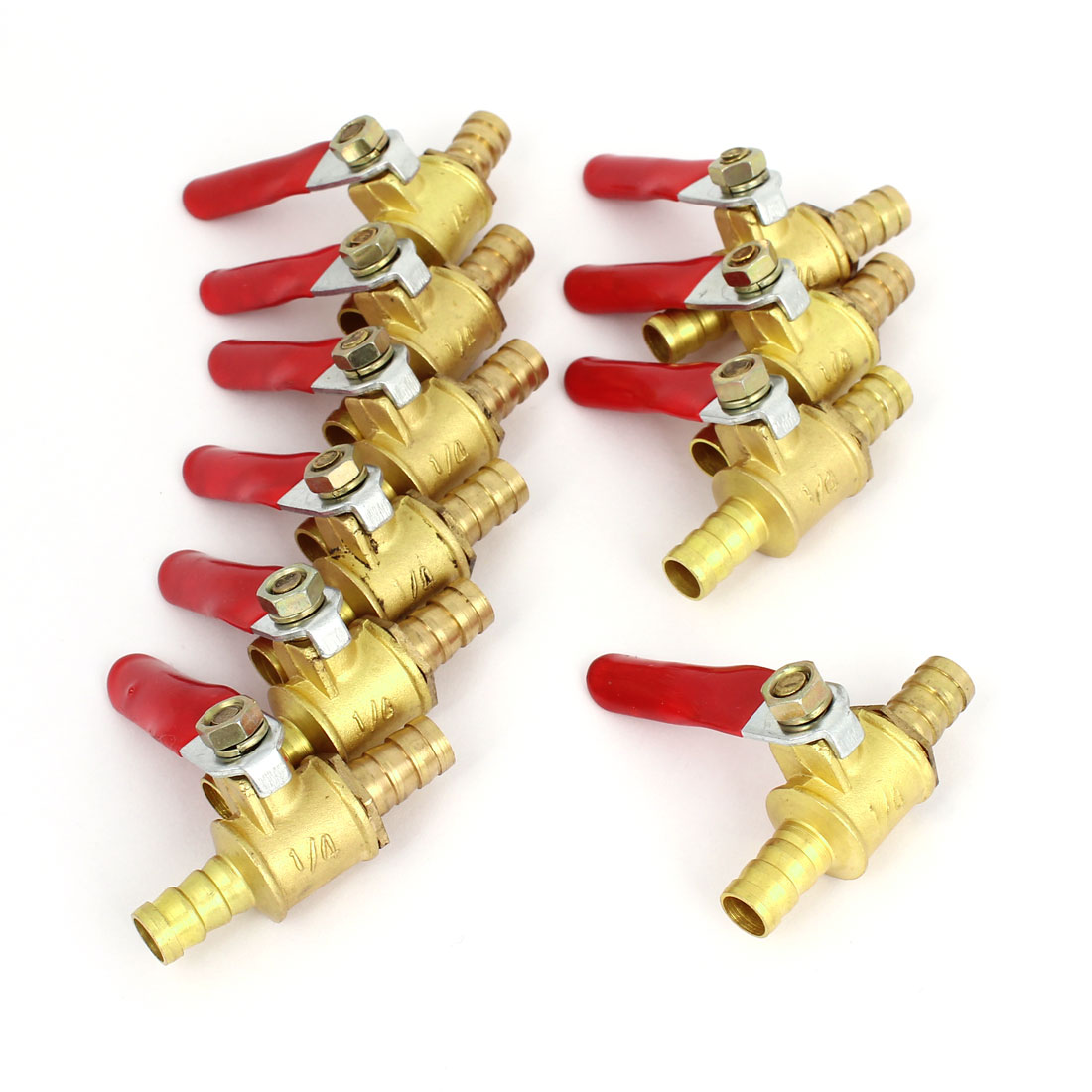10PCS 8mm Dia Dual Hose Barb Pressure Valve Switch Gold Tone Red for Air Compressor