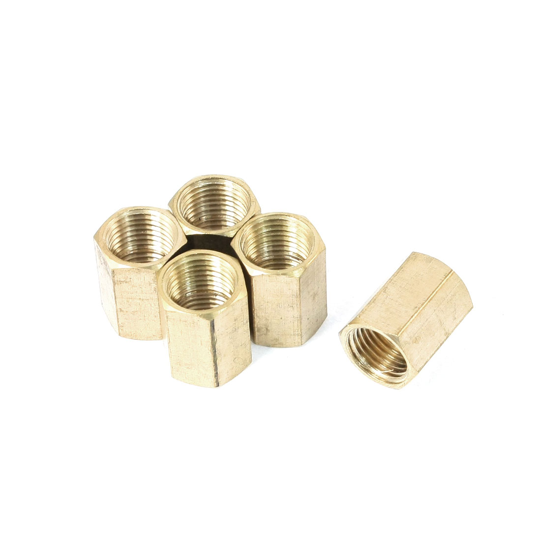 5PCS 1/4PT Female Thread Metal Straight Quick Release Coupler Fitting Joint Connector Adapter Fastener Brass Tone