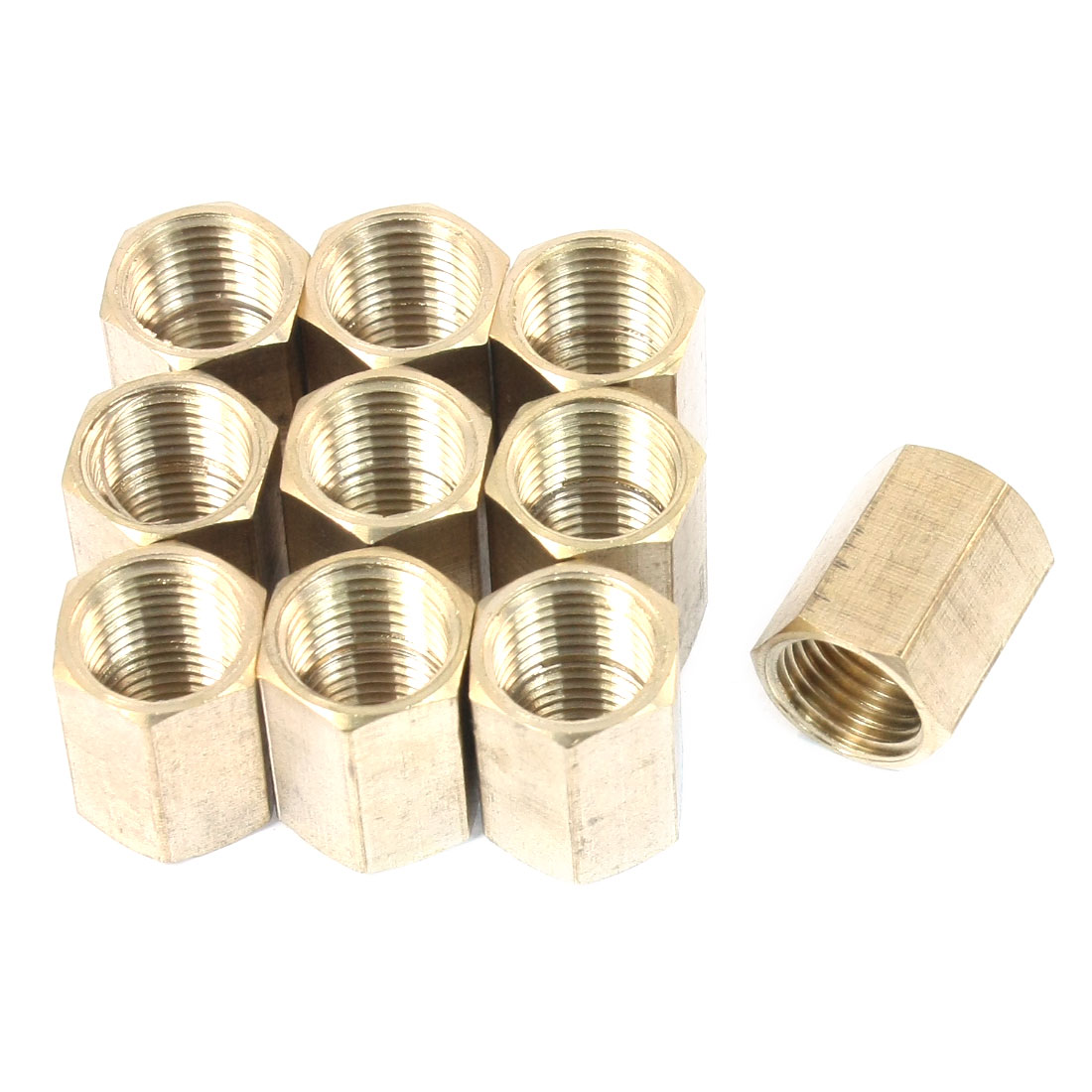 10PCS 1/4PT Female Thread Straight Quick Release Coupler Fitting Joint Connector Adapter Fastener Brass Tone