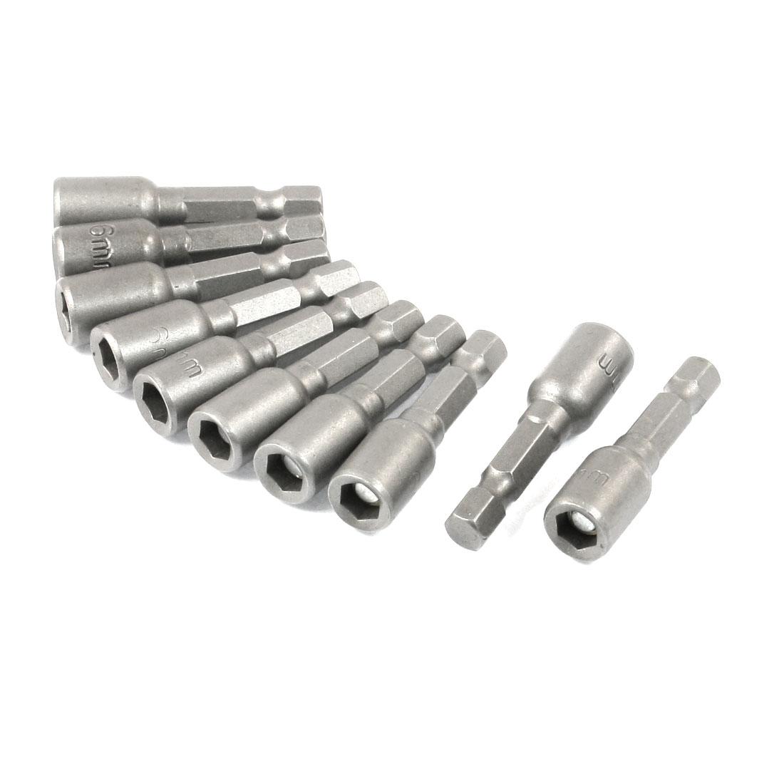 10 Pcs 6 x 48mm Screwdriver Drill Sleeve Hexagon Drive Hex Socket Bit