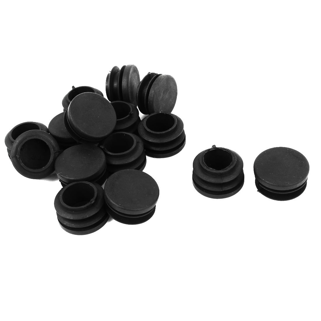 15 Pieces Black Plastic Round Blanking End Caps Tubing Tube Inserts 30mm Dia