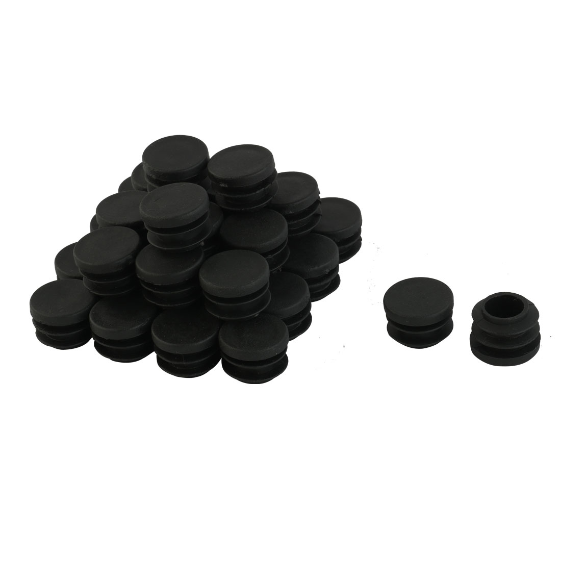 30 Pieces Black Plastic Round Blanking End Caps Tubing Tube Inserts 19mm Dia