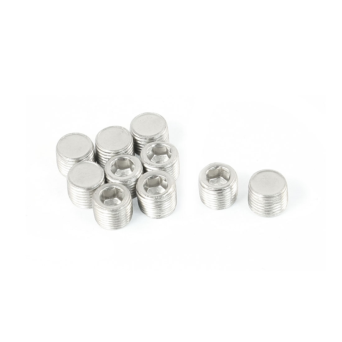 10PCS Nickel Plated 1/8PT Male Thread Cap Silver Tone for Air Pneumatic Fluids