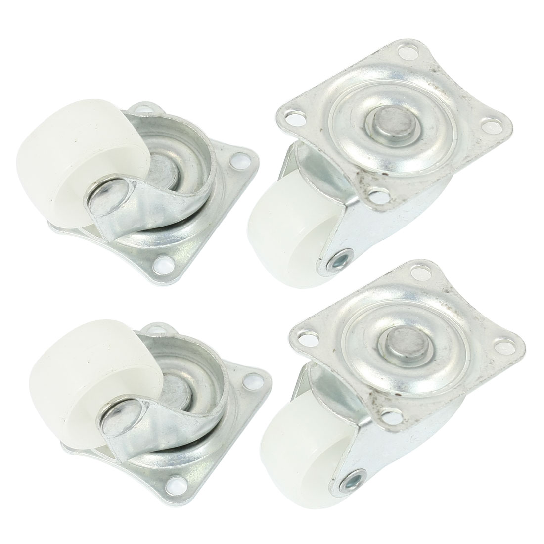 "Luggage Case Carts 1"" Round Rotatable Swivel Wheel Caster Silver Tone White 4pcs"