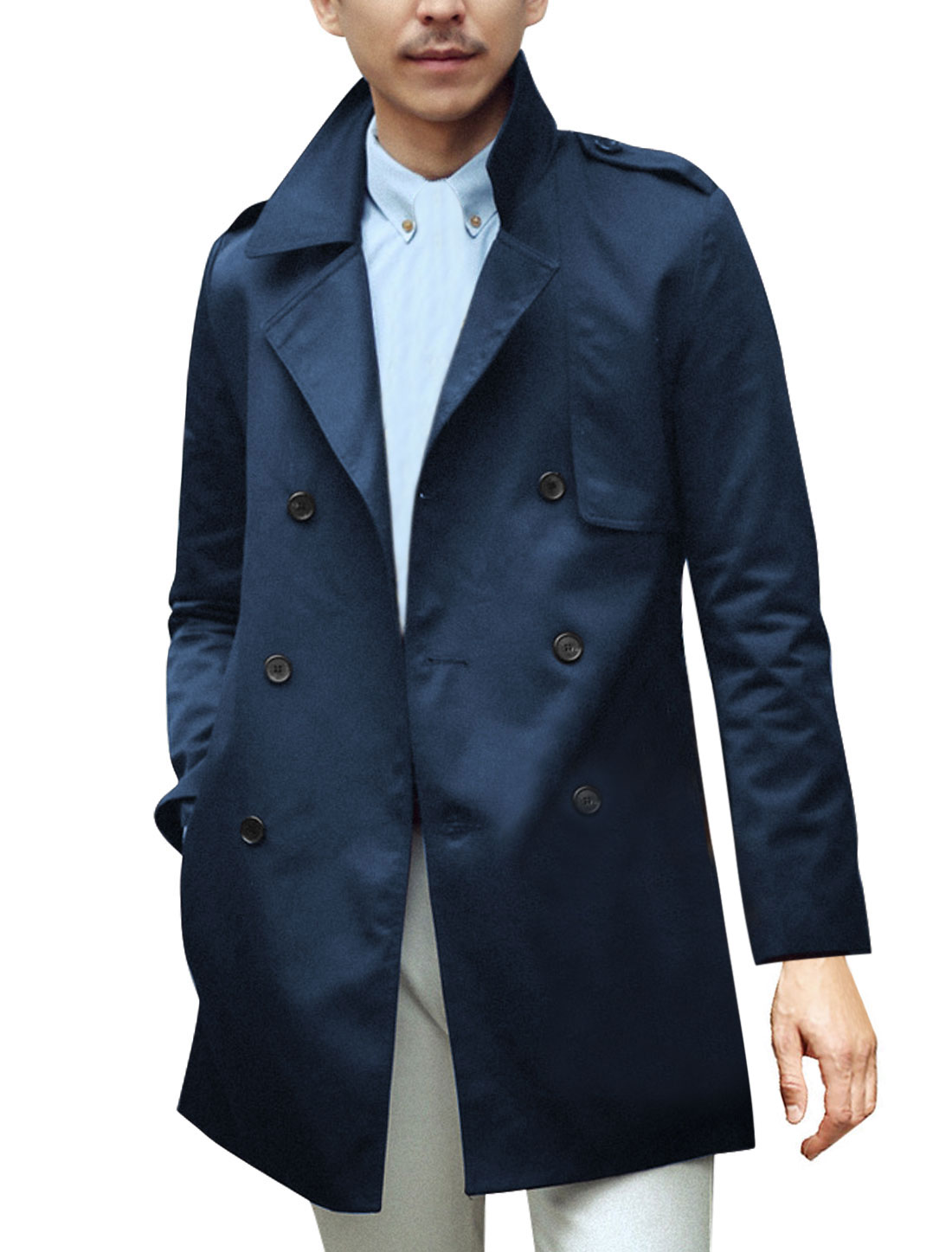 Men Notched Lapel Padded Shoulder Buttons Decor Casual Trench Navy Blue S