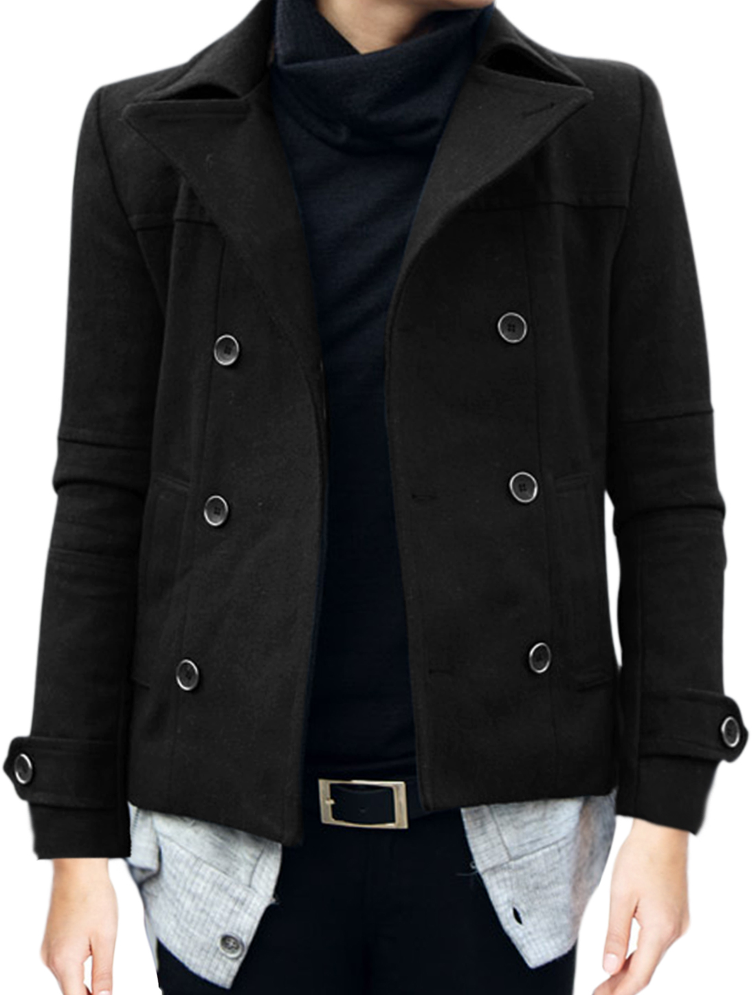 Men Single Breasted Buttons Decor Front Slant Pockets Peacoat Black M