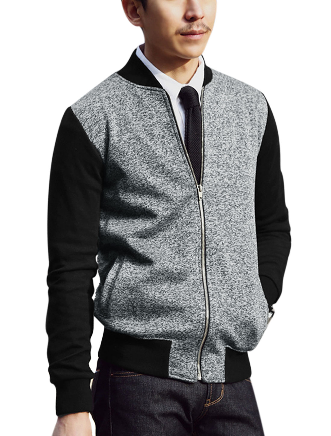 Men Color Block Zip Up Double Slant Pockets Spliced Jacket Gray Black M
