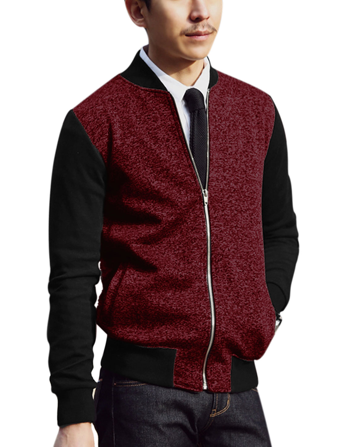Men Contrast Color Zip Up Slant Pockets Leisure Jacket Burgundy Black M