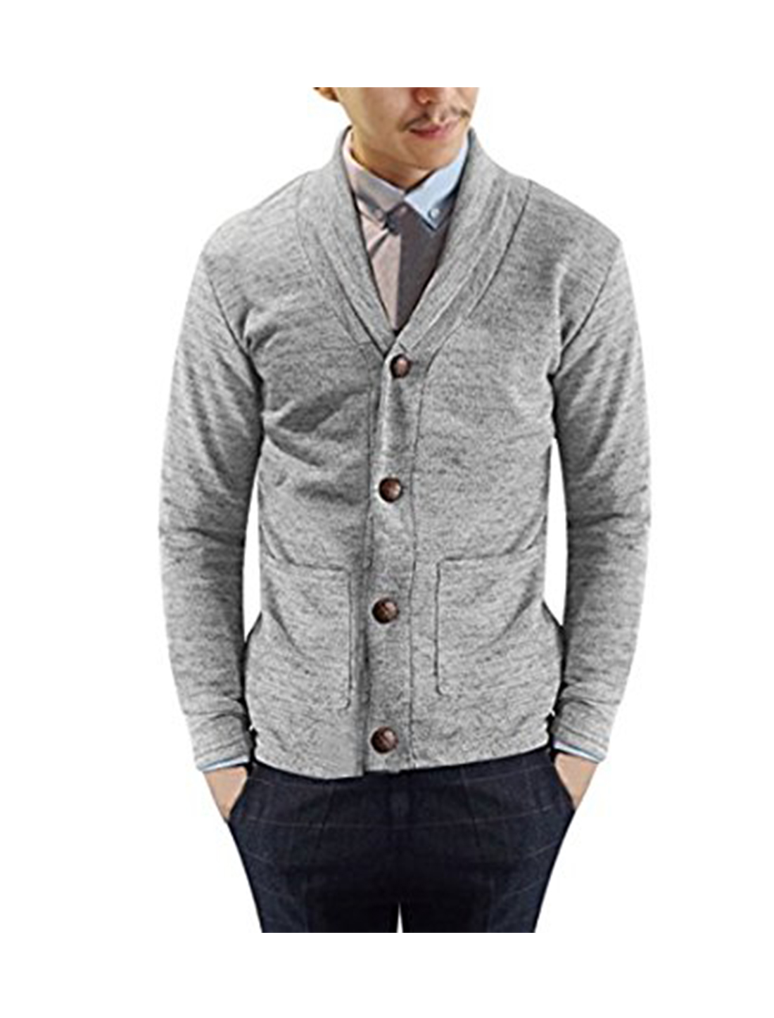 Men Shawl Collar Long Sleeves Button Down Knit Cardigan Light Gray M