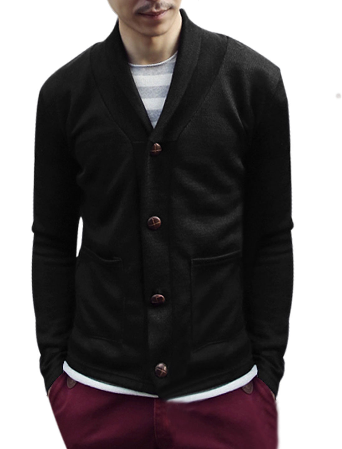 Long Sleeves Button Closed Casual Black Knit Cardigan for Men M