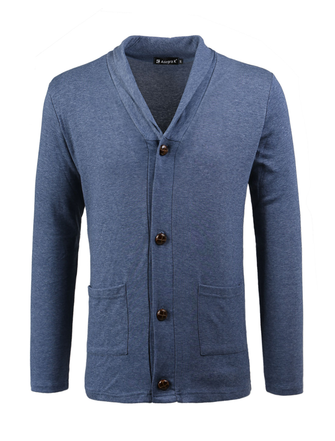 Button Closed Long Sleeves Navy Blue Knit Cardigan for Men M