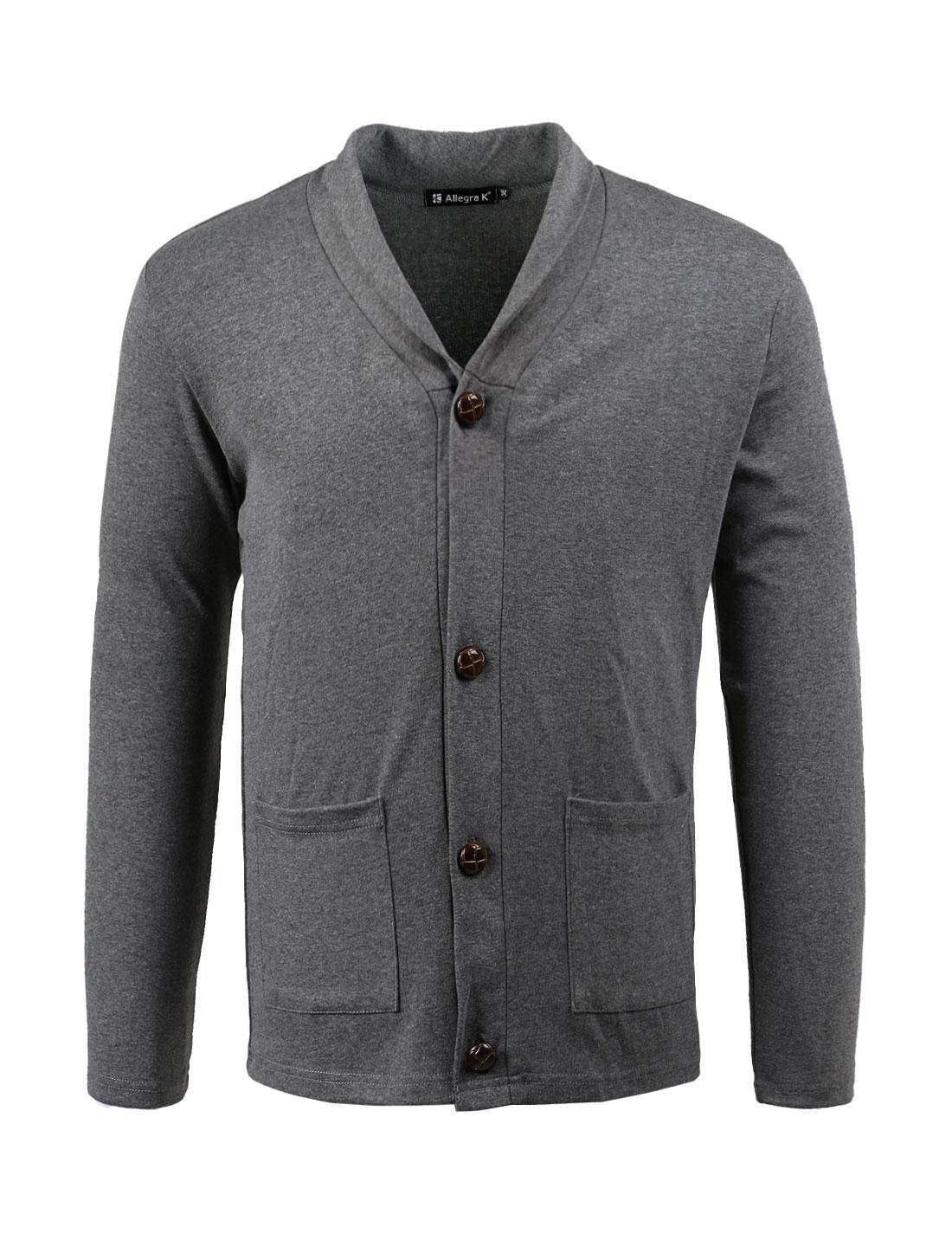 Men Button Closure Long Sleeves Knit Cardigan Dark Gray M