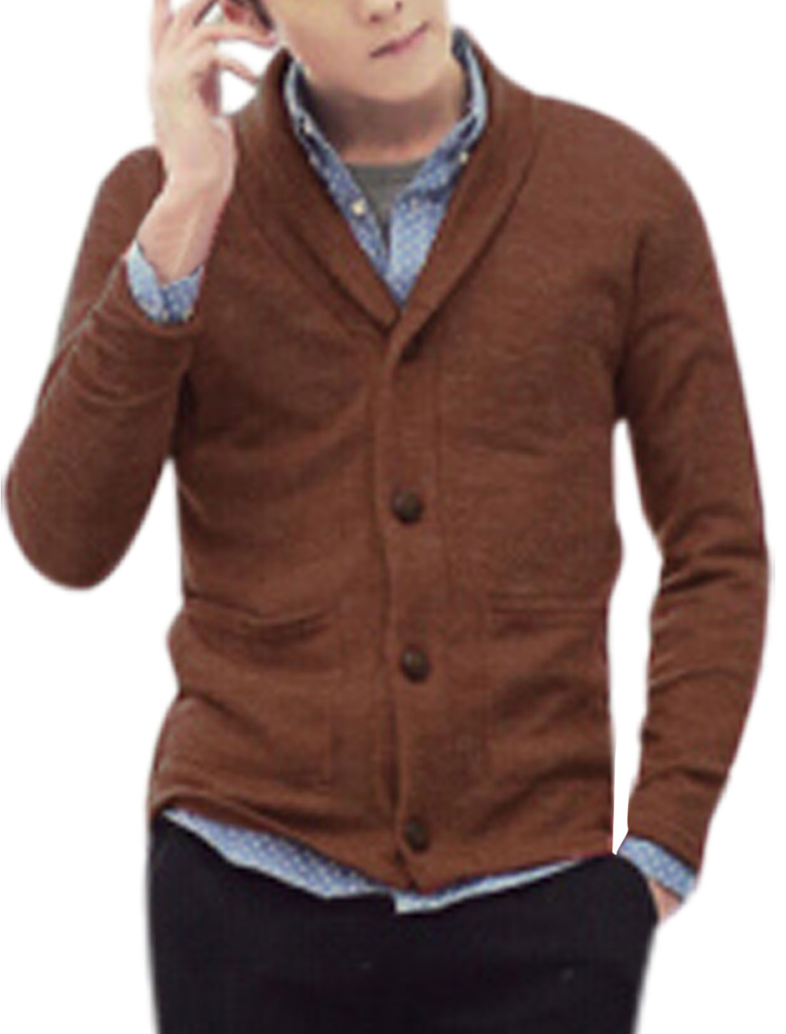 Men Single Breasted Shawl Collar Light Brown Knit Cardigan M
