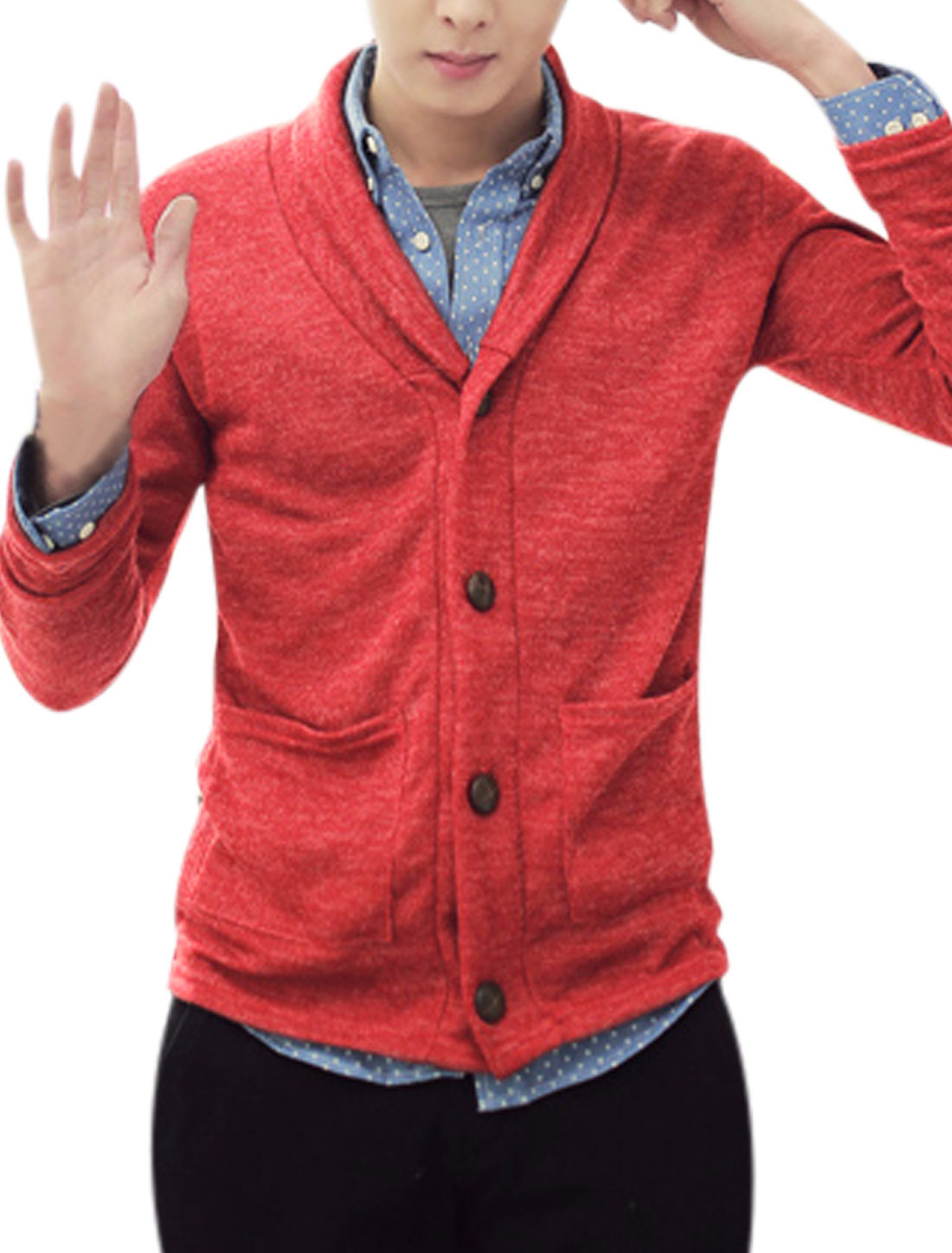 Men Long Sleeves Button Up Stylish Orange Red Knit Cardigan M