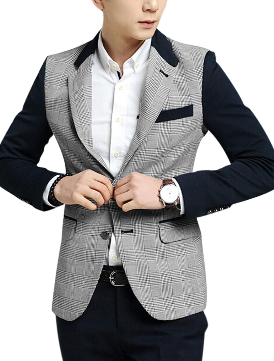 Men Notched Lapel Plaids Button Decor Cuff Jacket Gray Navy Blue S