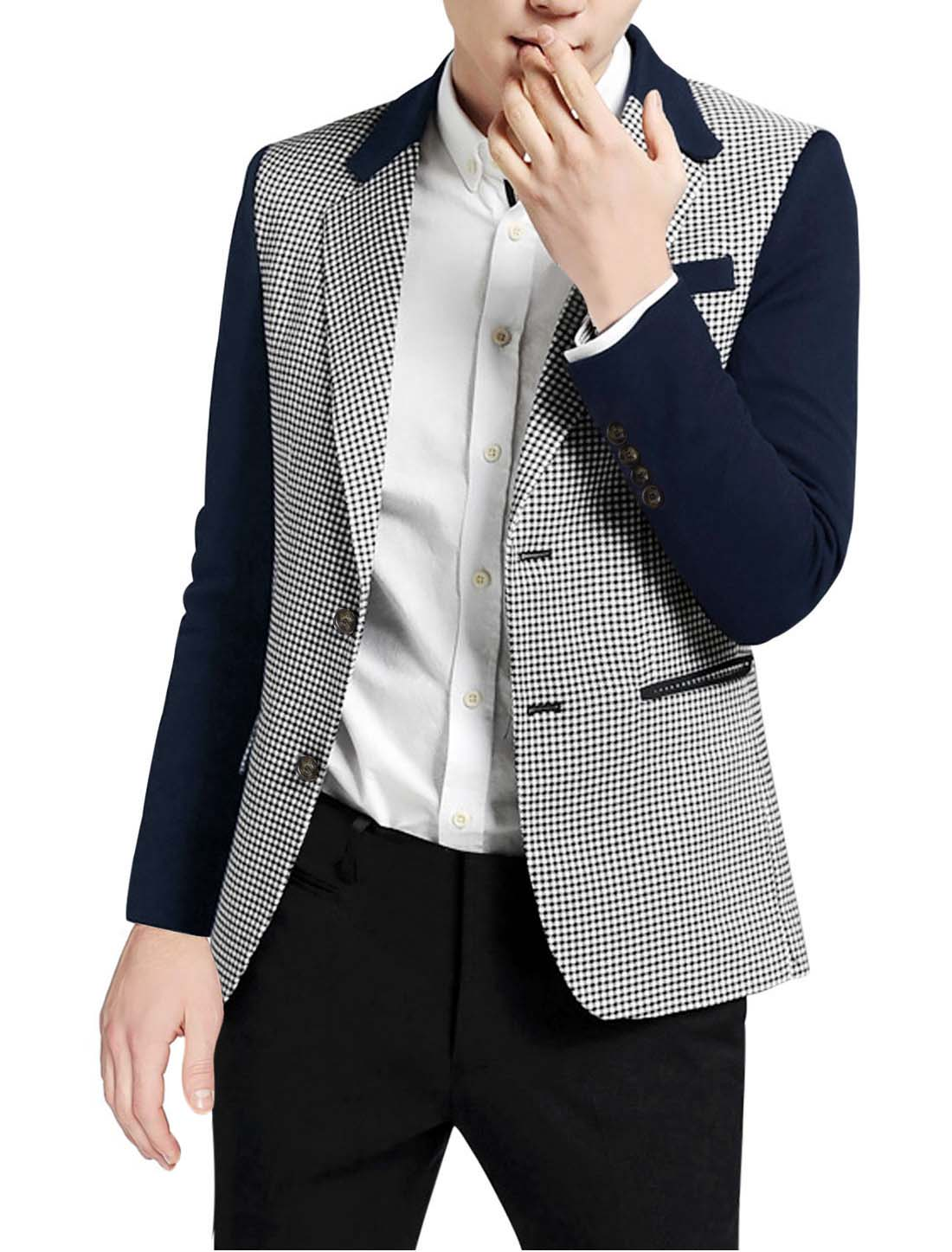Men Notched Lapel Houndstooth Pattern Split Side Casual Jacket Navy Blue M