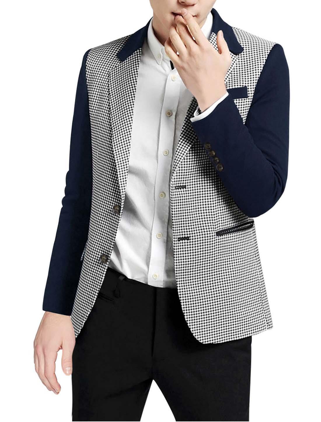 Men Geometric Pattern Long Sleeve Ribbed Hem Knit Shirt Navy Blue White S