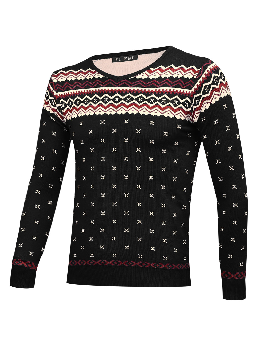 Men V Neck Geometric Pattern Long Sleeves Sweater Black S