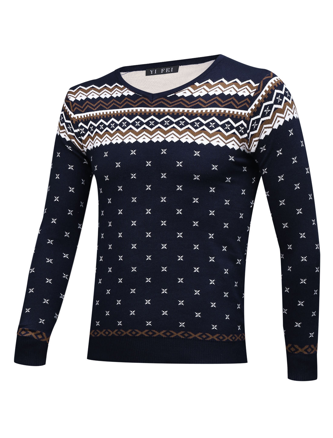 Men Geometric Pattern Pullover Slim Fit Navy Blue Sweater S