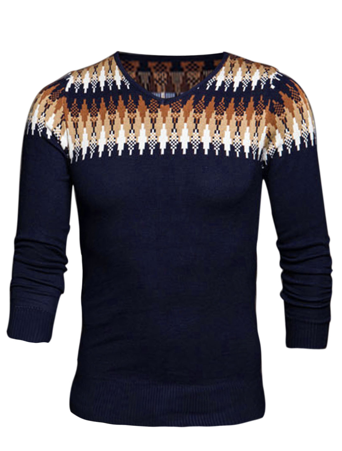 Men Pullover Argyle Pattern Fashionable Knit Shirt Navy Blue S