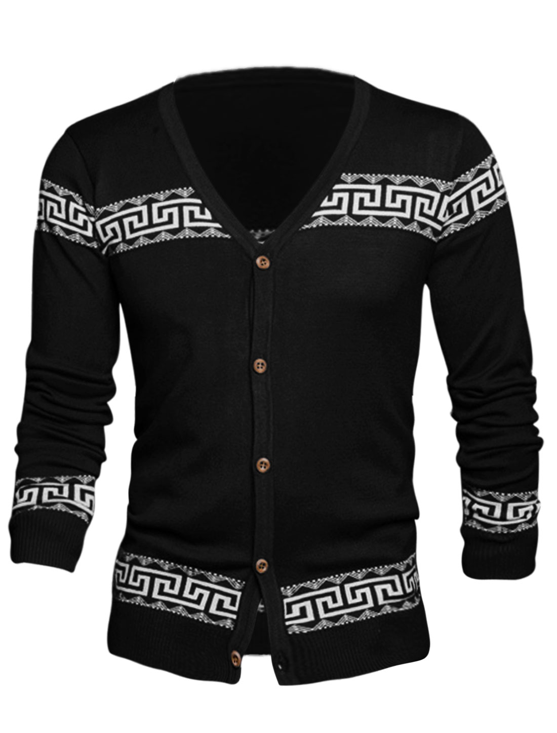 Men Single Breasted Geometric Pattern Casual Cardigan Black S