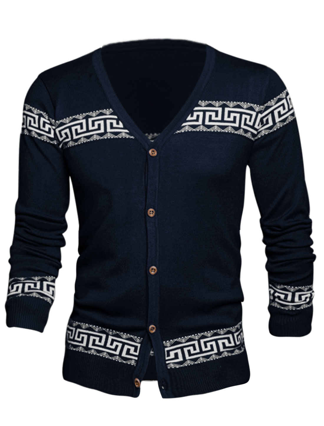 Cozy Fit Geometric Pattern Casual Fashion Cardigan for Men Navy Blue S