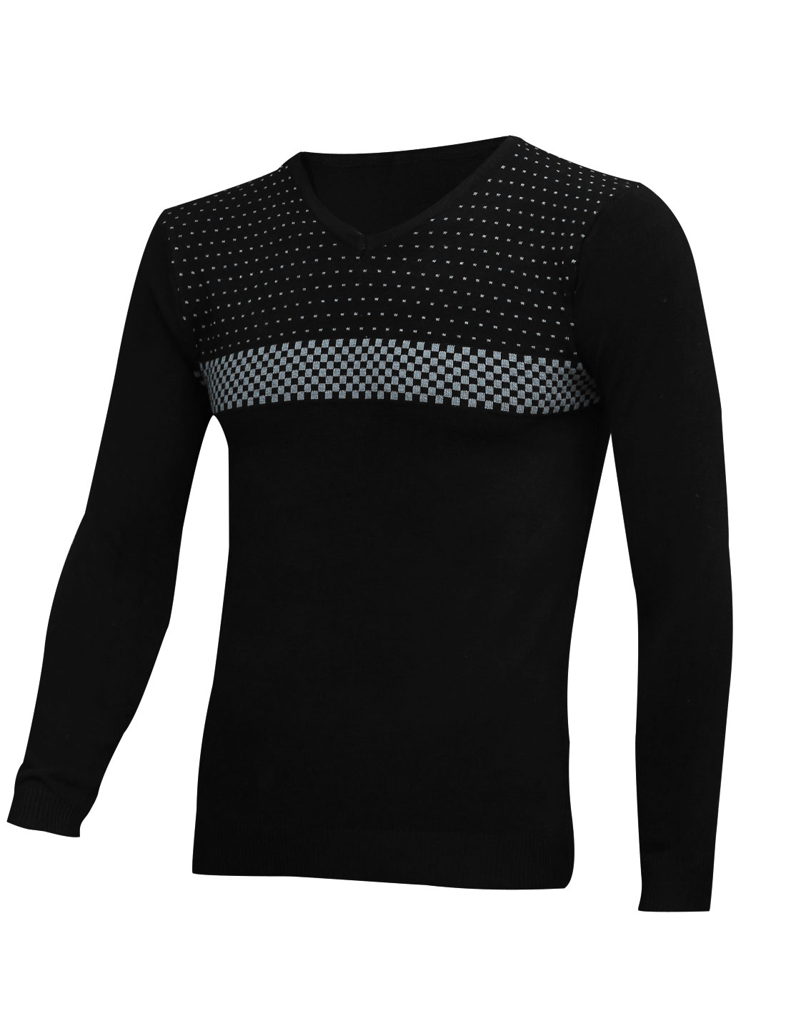 Men V Neck Long Sleeves Plaids Slim Fit Knit Shirt Black S