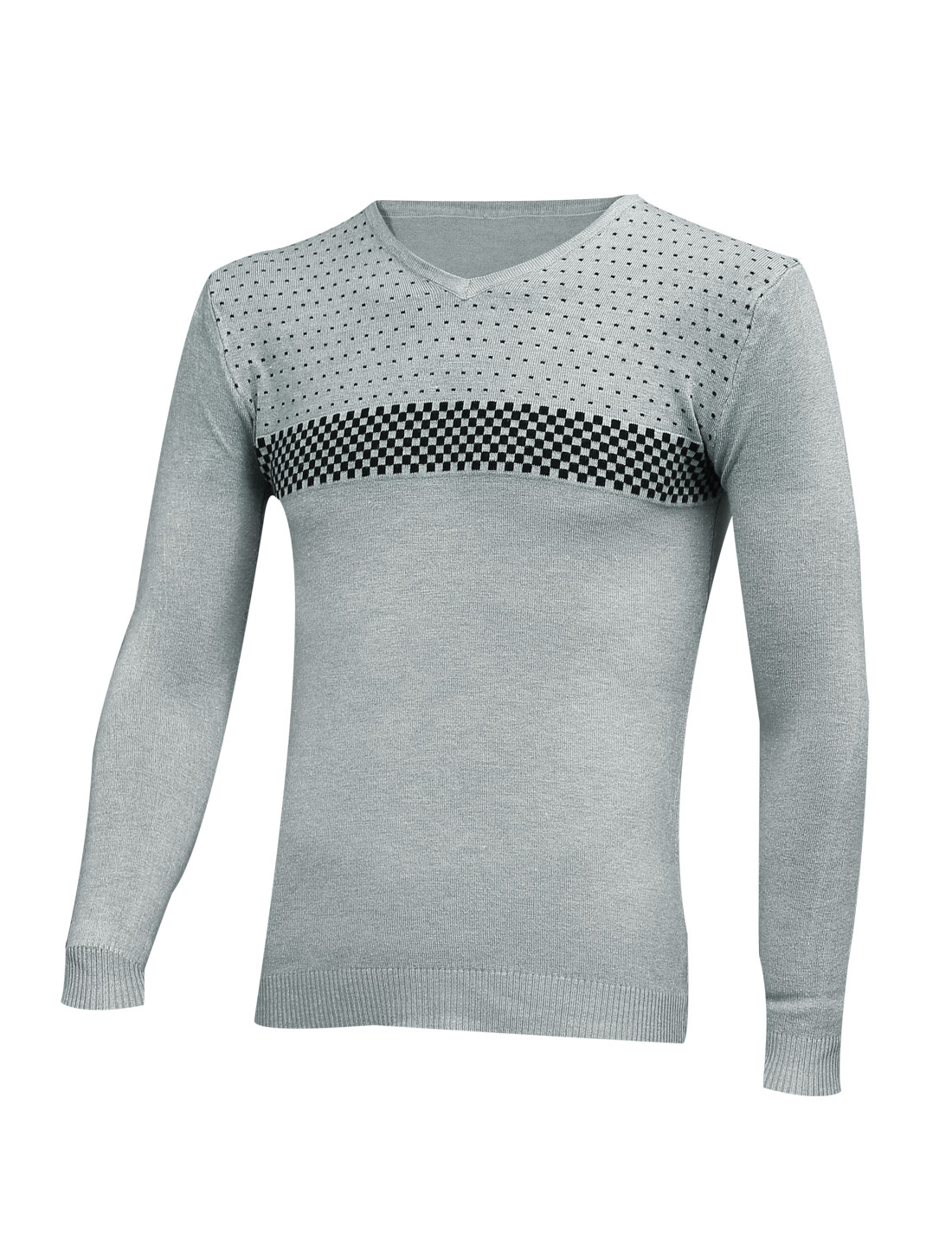 Long Sleeves Plaids Form-fitting Light Gray Knit Shirt for Men S