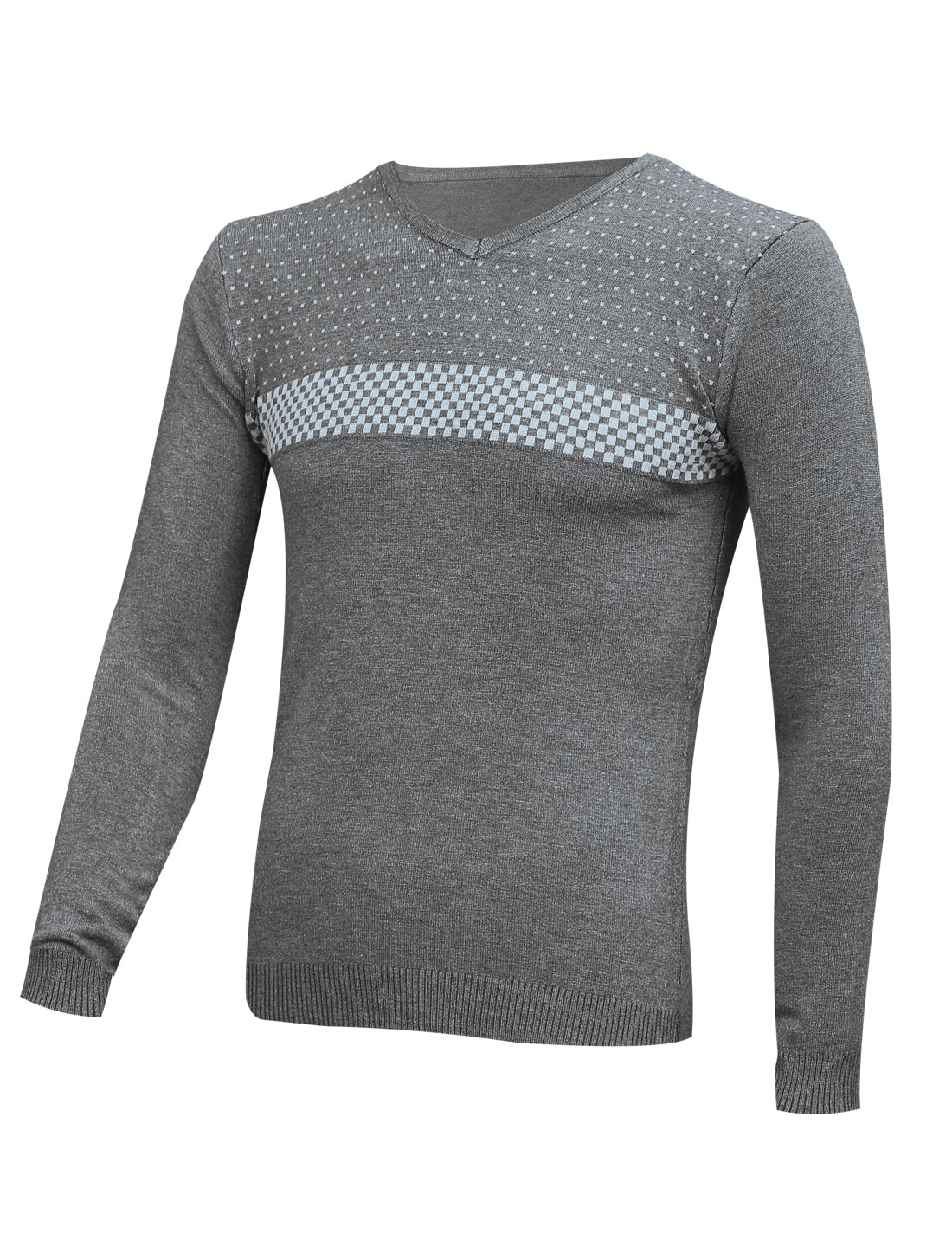 Pullover Long Sleeves Plaids Dark Gray Knit Shirt for Man S