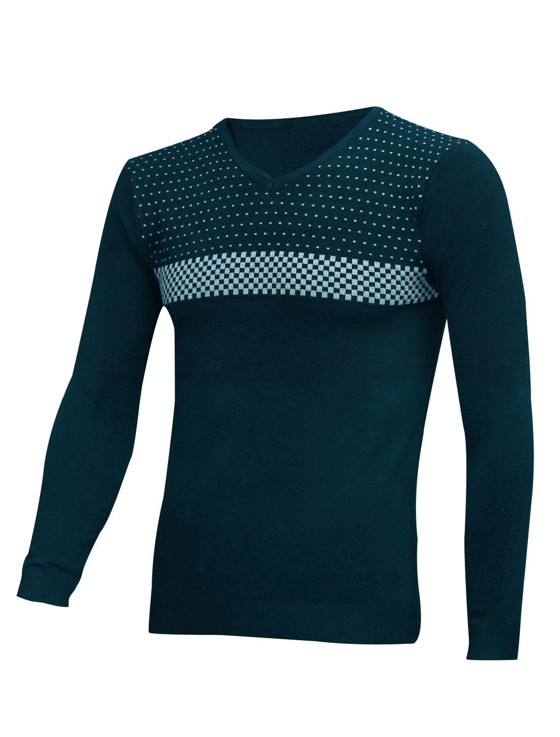 Slipover Plaids V Neck Navy Blue Knit Shirt for Men S