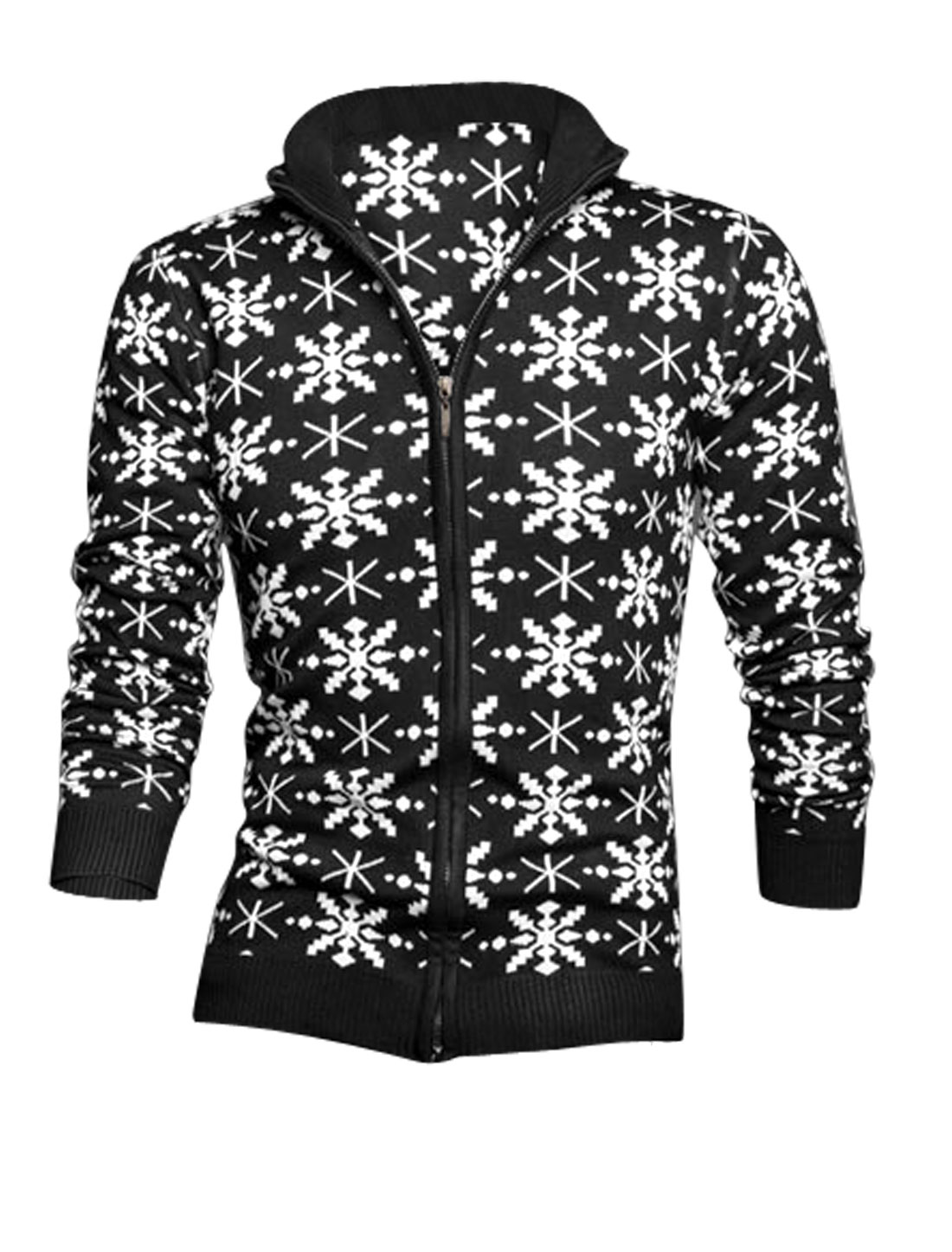 Men Convertible Collar Geometric Pattern Casual Cardigan Black S