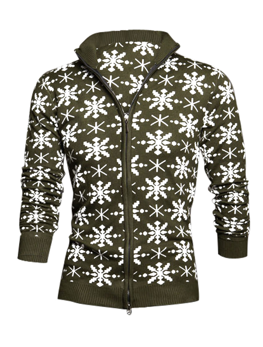 Men Convertible Collar Zip Up Stylish Cardigan Army Green S
