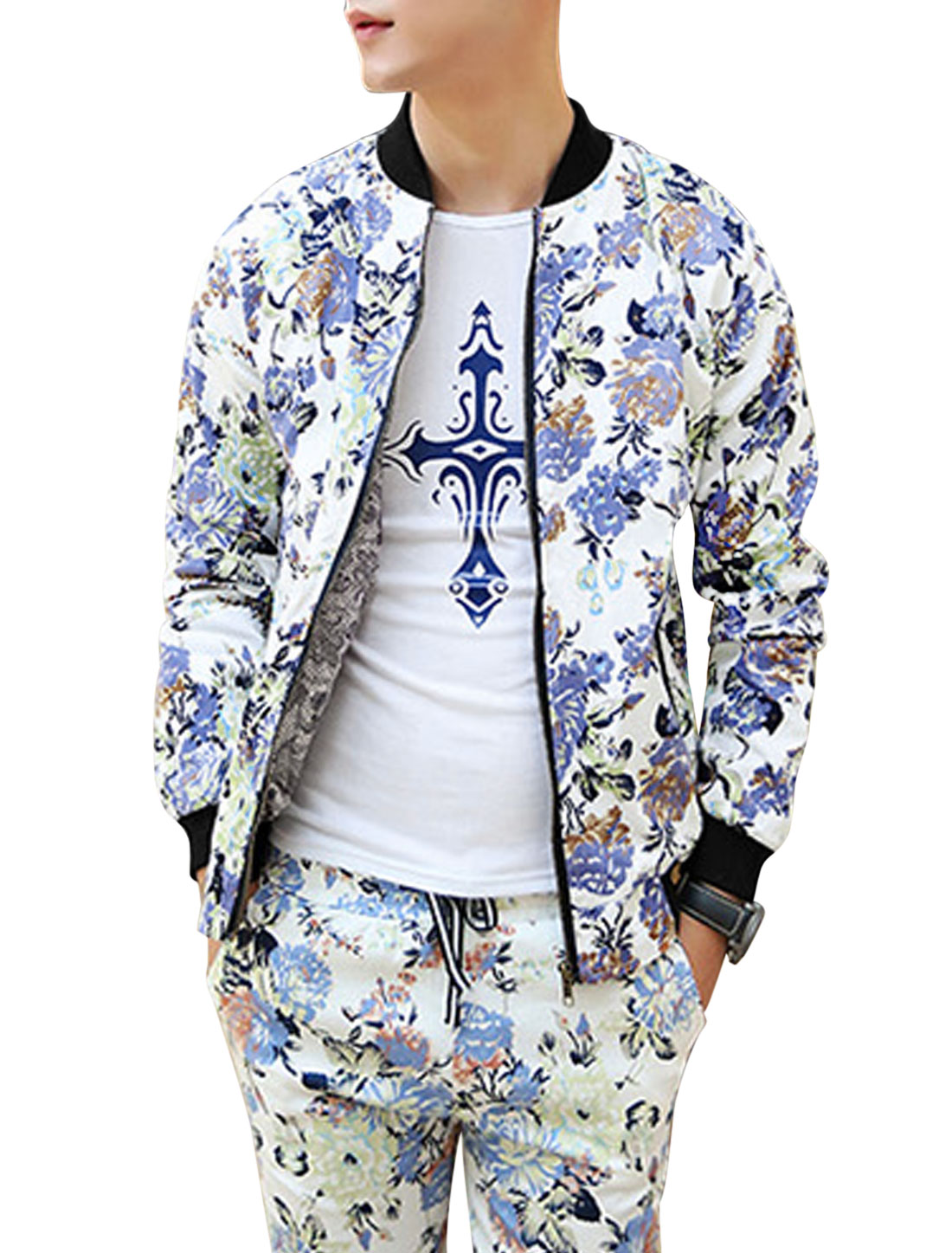 Man Multicolor Stand Collar Long Sleeves zippered Front Casual Jacket M
