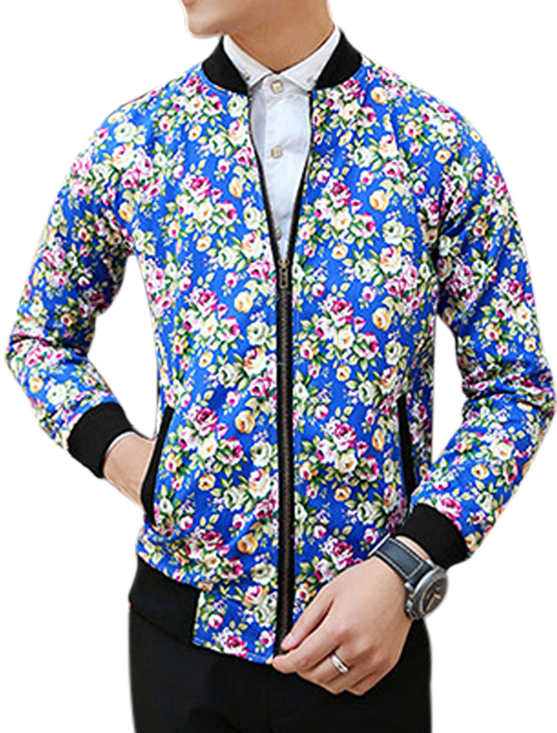 Man Royal Blue Stand Collar Long Sleeves Floral Print Zippered Front Jacket M