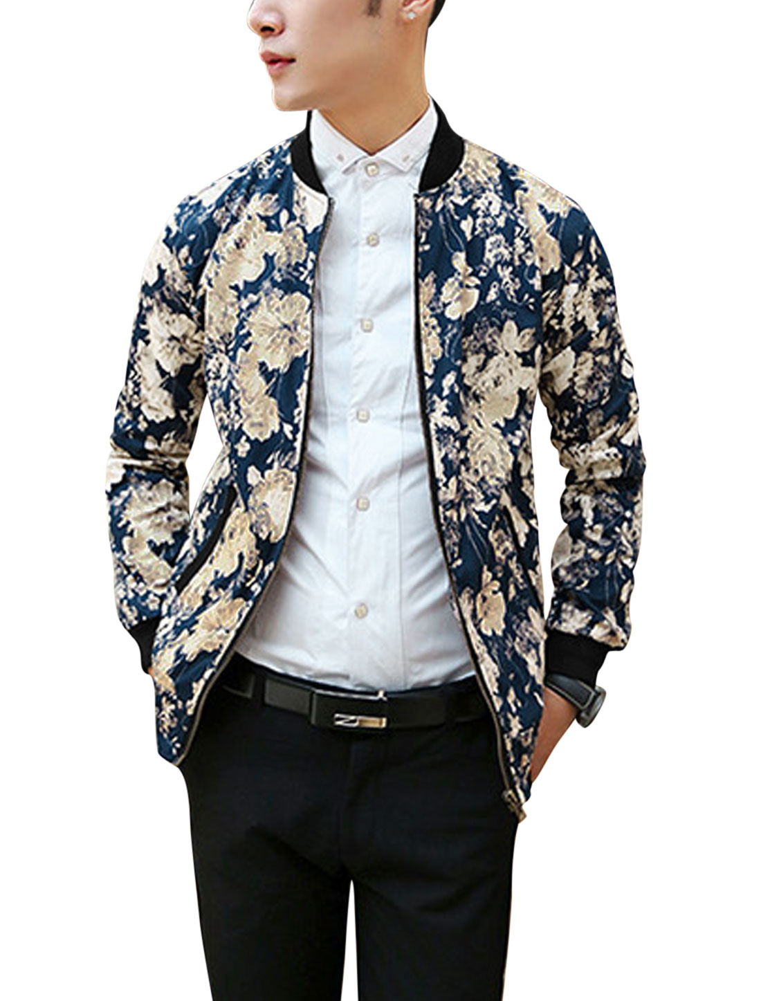 Man Navy Blue Stand Collar Long Sleeves Zippered Front Floral Print Casual Jacket M