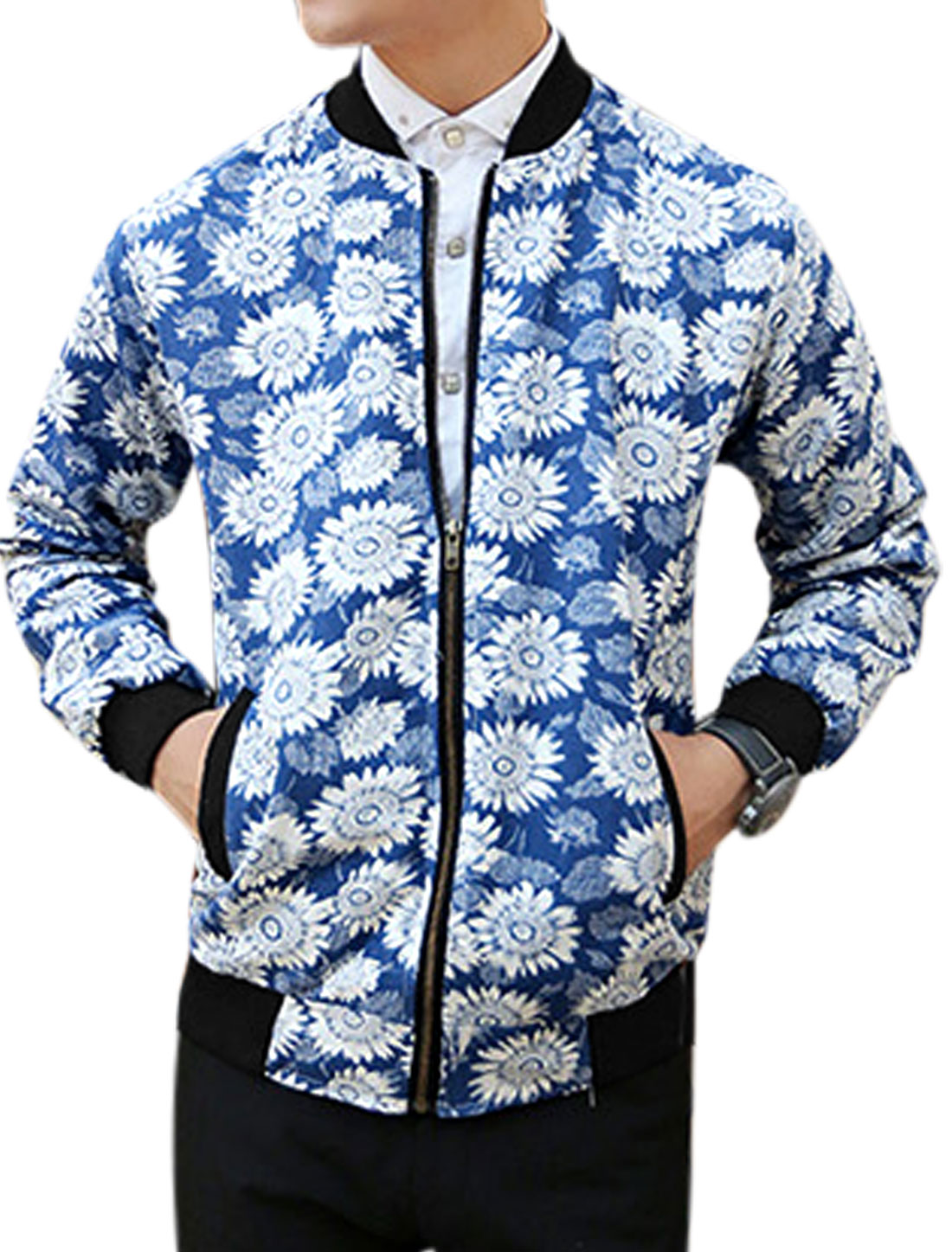 Men Floral Prints Zip Up Long Sleeve Casual Jacket Blue M